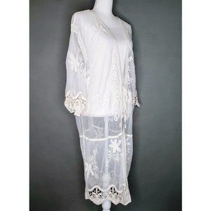 Crocheted Lace Sheer Tie Front Cover Robe